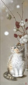 コットン 猫 薔薇 子猫 色鉛筆 アクリル